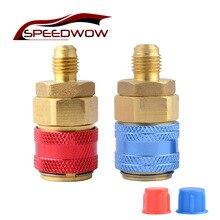 SPEEDWOW adaptateurs de coupleur rapide   1 paire R134A H/L Freon climatisation réfrigérant, adaptateurs en laiton, jauge de collecteur AC réglable