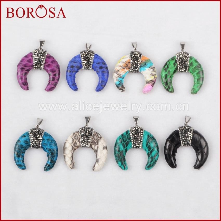 BOROSA 3PCS Rhinestone Pave Natural Python Skin Rainbow Crescent Double Horn Charm Pendant for Necklace Jewelry JAB302
