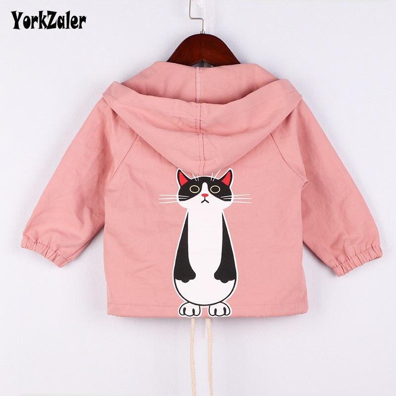 Chaqueta para niños Yorkzaler de manga larga con capucha de gato de dibujos animados en la espalda para niñas de primavera otoño ropa de abrigo para bebés