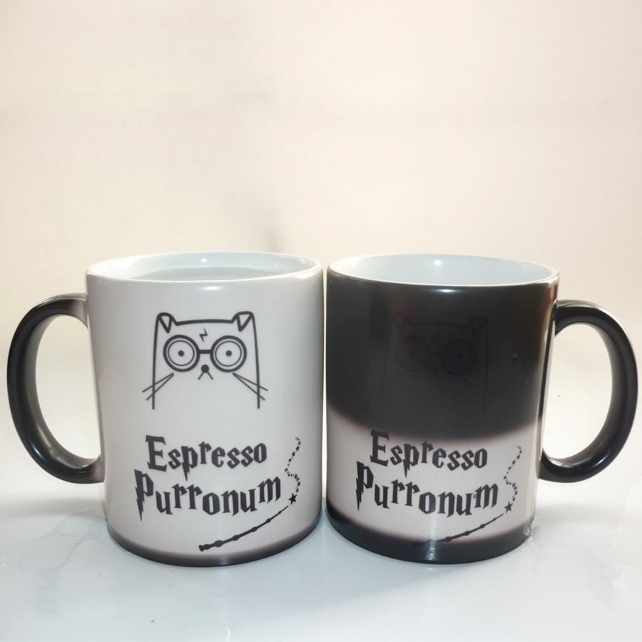 Легкая волшебная кружка, эспрессо, перронум, кошка, кофейная кружка, меняющая цвет, кружка, лучший подарок для вашего друга или себя