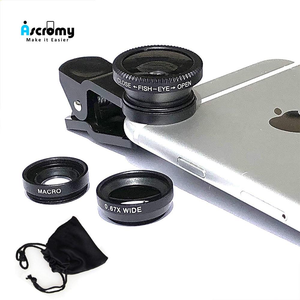 Ascromy lente de Zoom de teléfono de gran angular para Smartphone Lentes de ojo de pez Kits de Lentes de cámara con Bluetooth para Huawei iPhone Samsung