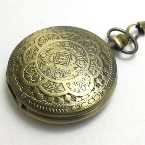 DHL Free Shipping Bronze Hollowed Carved Flower  Skeleton Mechanical Pocket Watch Roman Dial Pocket Watch Christmas Gift