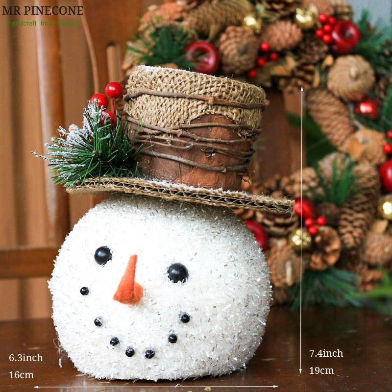 "H7.4""Natale Happy Christmas Snowman Home Decor Pinecone Berry Room Decoration Table Decors Xmas Navidad 2018 Decorations"