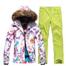 Hiver nouvelles femmes Ski costume Super chaud en plein air Sport Camping équitation Ski Snowboard costume ensemble veste + pantalon femme