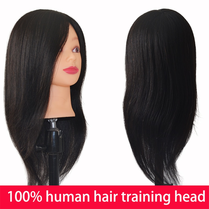 100% Real Human Hair Practice Training Mannequin Head Professional Hairdressing Manikin Head Female Cosmetology  Doll Dummy