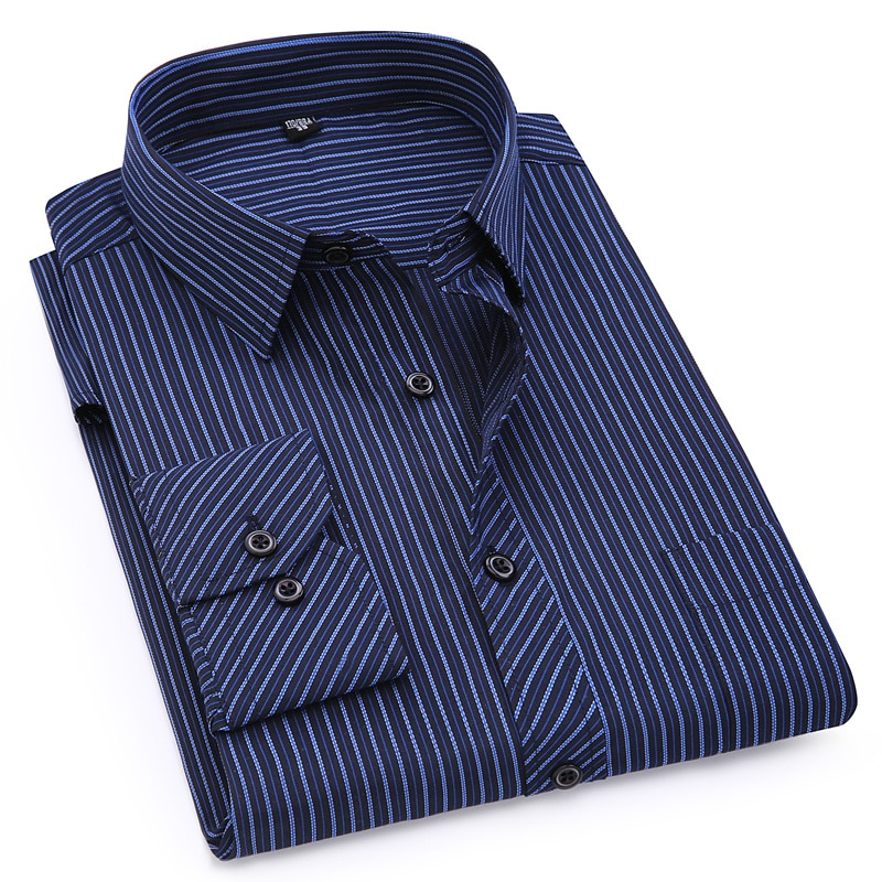 Plus Large Size 8XL 7XL 6XL 5XL 4XL Mens Business Casual Long Sleeved Shirt Classic Striped Male Soc