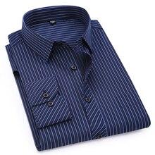 Мужская рубашка с длинным рукавом, большие размеры 8XL 7XL 6XL 5XL 4XL, Классическая, в полоску, фиолетовая, синяя