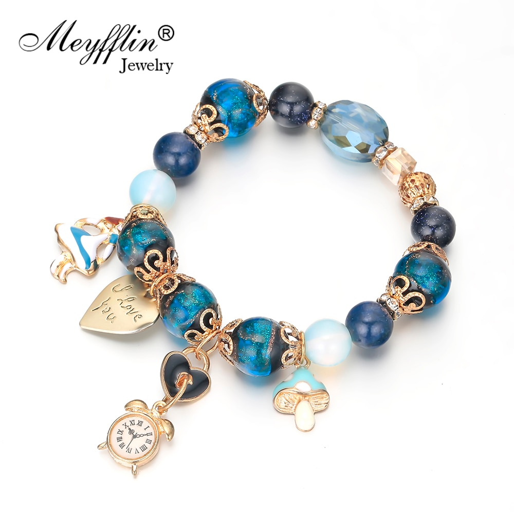 Meyfflin reloj colgante cuentas pulseras y brazaletes para mujeres Vintage azul verde piedra colgante de corazón pulsera de moda joyería femenina