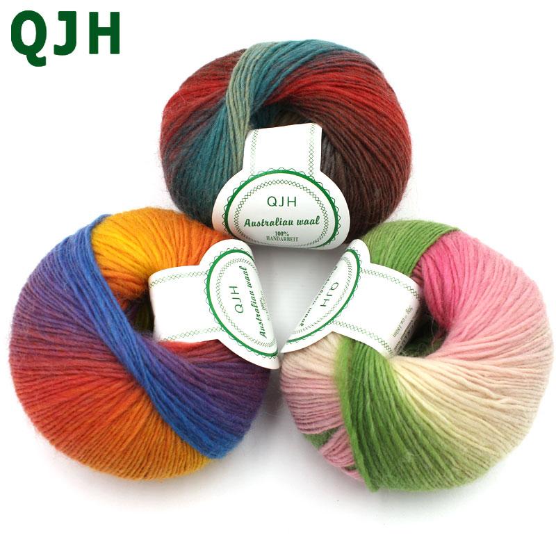 1 bola 100% fios de lã luxo qualidade fantasia islândia grosso tricô de mão para fios de melange malhado fio de lã de caxemira