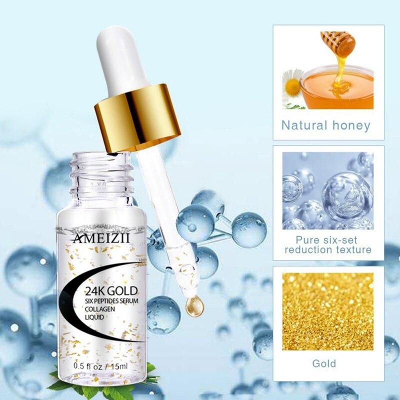 Sérum 24 K Golden Six Peptides Anti-rides collagène blanchissant raffermissant visage Essence dacide hyaluronique pur