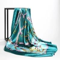 fashion kerchief neck scarves for women print silk satin hair scarf female 90cm90cm square shawls large hijab scarfs for ladies