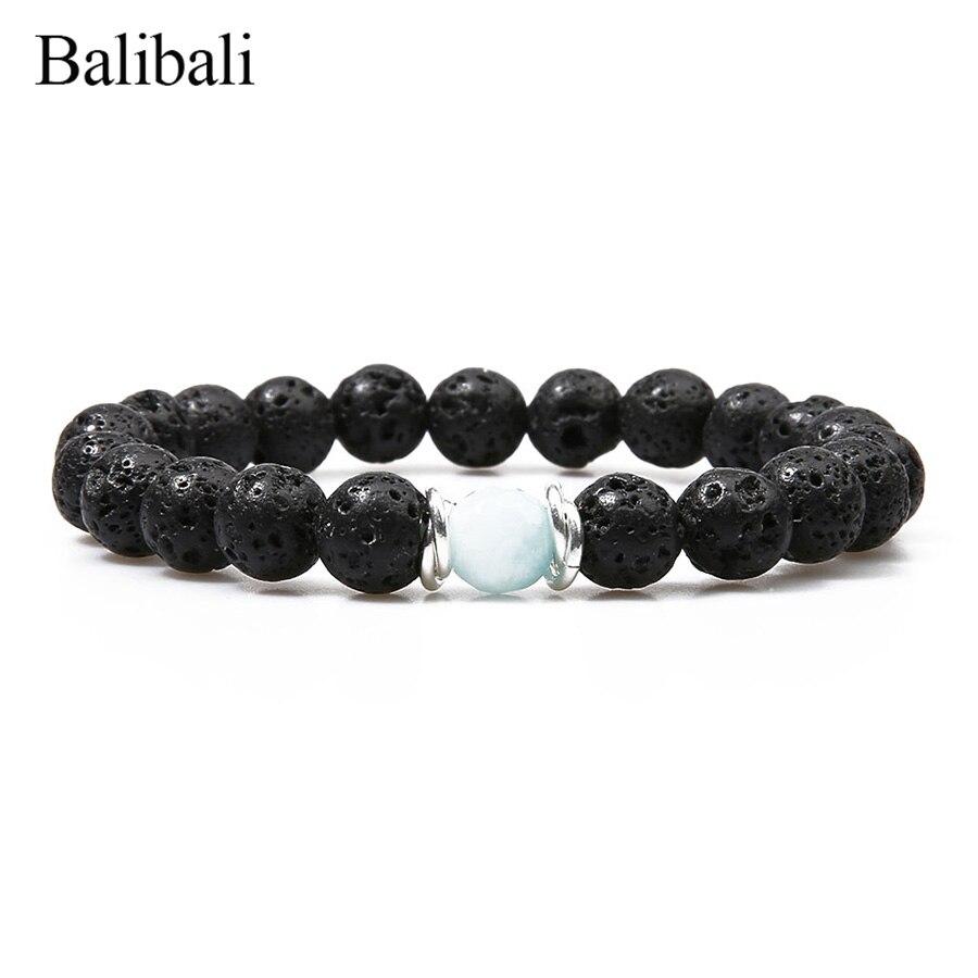 Balibali Clássico Strand Pulseira Maxi Preto Lava Pedra Pulseiras de Cristal Do Grânulo de Oração Meditação Jóias Pulseira Masculina Femme