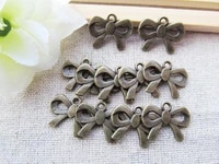 200pcs 18 80mmx14 50mm flat antique bronze bowknotbow tie connector pendanthanging charmfindingdiy accessory jewelry making