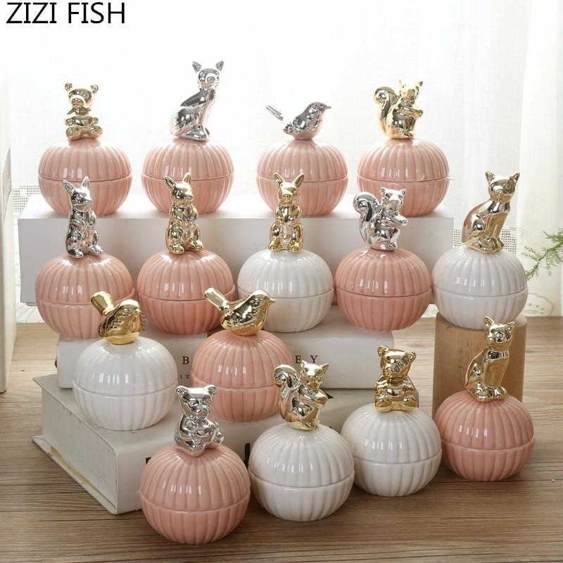 Cajas de joyería de cerámica de animales lindos rosados caja de la baratija del anillo de la boda con el sostenedor cristalino caja del almacenamiento de la joyería del pendiente caja de regalo artesanía