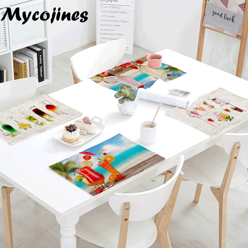 Promoción de mesa de cóctel de playa alfombra de Decoración de cocina mantel de té Toalla de moda mantel café comida accesorios servilleta