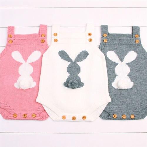 Lindo bebé recién nacido Niño niñas conejito tejido lana Pom mono Pascua trajes conjunto sin mangas bebé niño Niñas Ropa
