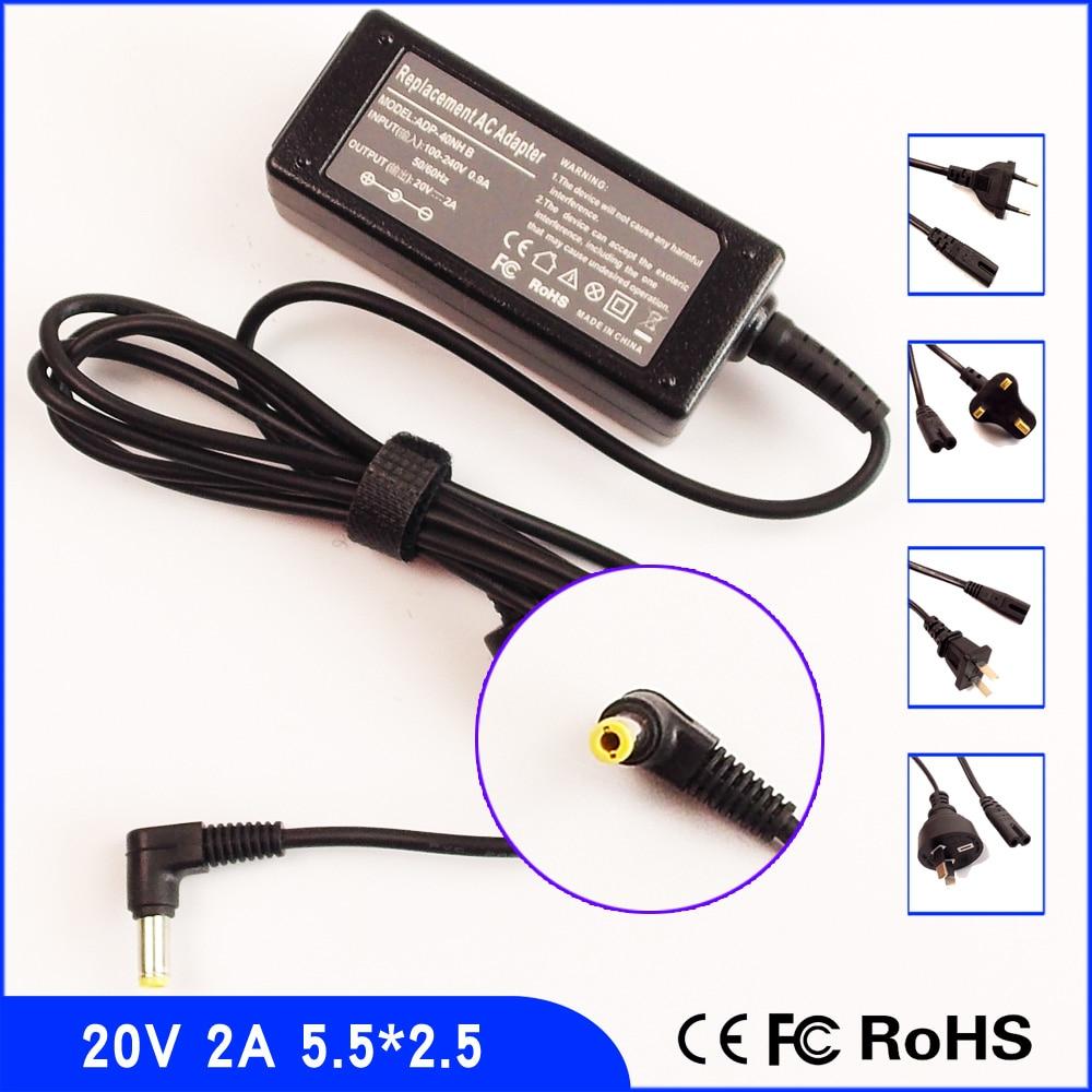 20V 2A adaptador de CA del ordenador portátil fuente de alimentación + cable para MSI Wind U90 U100 U115 U120H U120 U150 U160 U260 U310