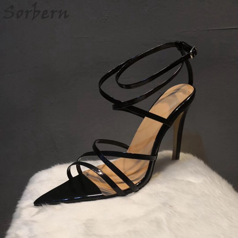 Sorbern Mature Long Pointy Toe Sandals Women Slingbacks High Heel Stilettos Thin Cross Straps Plus Size Fashion Ol Shoe Summer