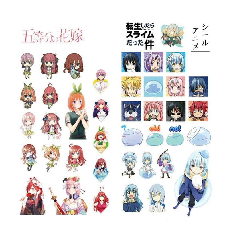 1 piezas de Anime de dibujos animados etiqueta Nakano Ichika Rimuru tempestad Hatsune Miku Rem Ram tarjeta Captor FGO transparente de la etiqueta engomada impermeable