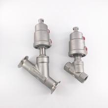 Edelstahl pneumatische Winkel sitz ventil innengewinde schweißen clamp Y typ hohe temperatur dampf Winkel sitz ventil