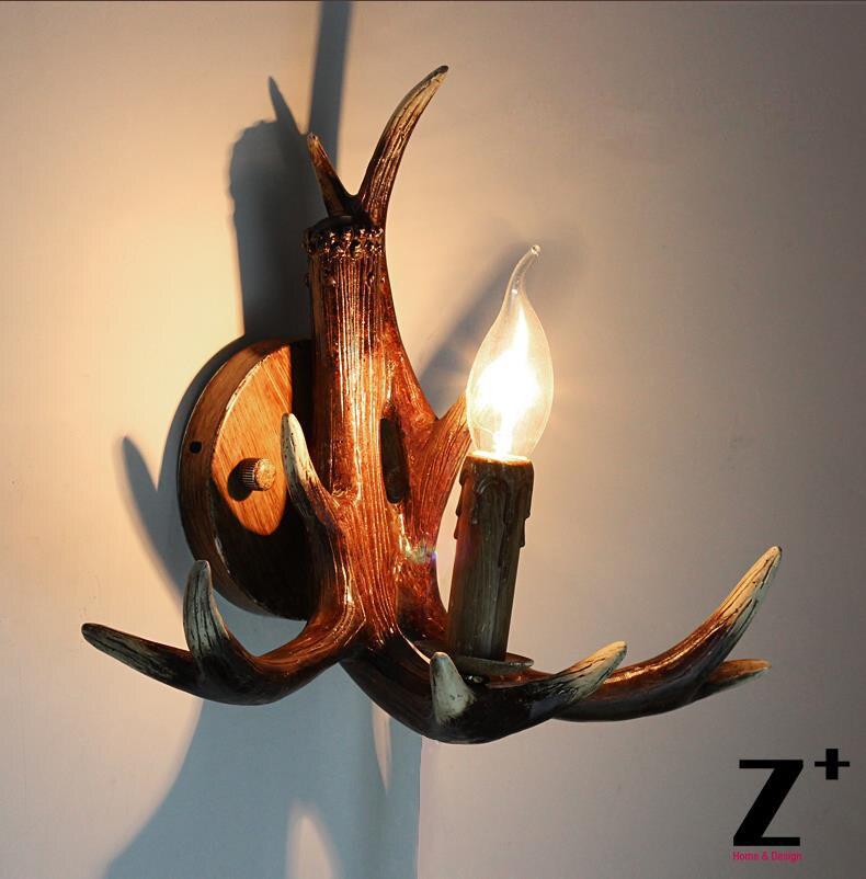 Lámpara de pared Retro estilo americano de resina con diseño de ciervo, lámpara de pared estilo campestre, envío gratis, aplique de pared