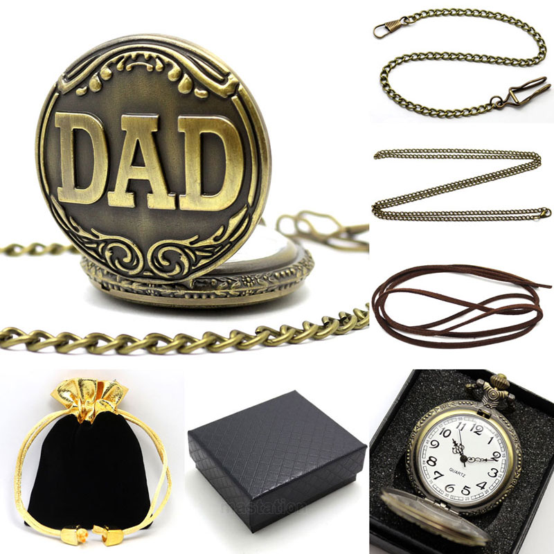 Antique Bronze Dad Quartzo Relógio de Bolso com Colar Fob Assistir Presente do Dia dos Pais Presentes Conjuntos de Jóias Vintage