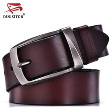 DINISITON-cinturones de diseño para hombre, correa de cuero genuino de alta calidad, a la moda, de cuero de vaca, para Vaqueros