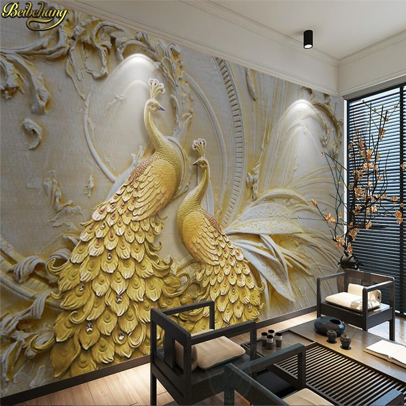 beibehang wallpaper for walls 3 d Custom photo wall paper murals 3D relief golden peacock background wall papel de parede beibehang papel de parede 3d warm bedroom non woven wall paper three dimensional rural wallpaper for walls 3 d wall paper