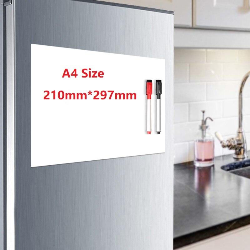 Магнит на холодильник A4, магнитная доска для рисования, белая доска для записей, стикер на холодильник