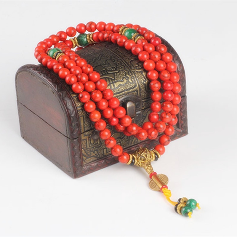 Sennier 108 Red Coral  bracelet natural stone beads mala necklace buddhist prayer rosary strand bracelets buddha Meditation