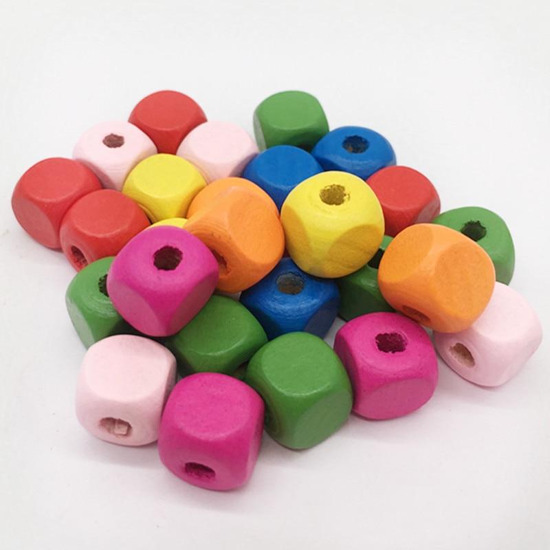 50 pcs/pack couleurs mixtes boutons en bois carré perles en bois exquis bricolage accessoires moderne décor à la maison bricolage couture artisanat