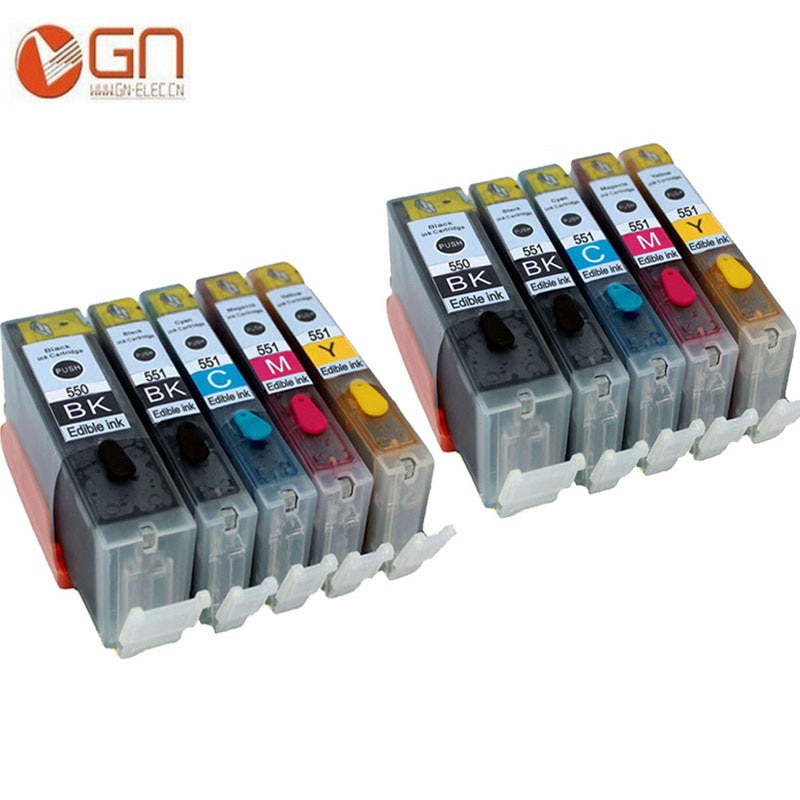 GN 10 для PGI 550 CLI 551 pgi550 PGI-550 картридж со съедобными чернилами для Canon PIXMA MG5650 MG6350 MG6450 MG6650 MG7150 MG7550 MX725