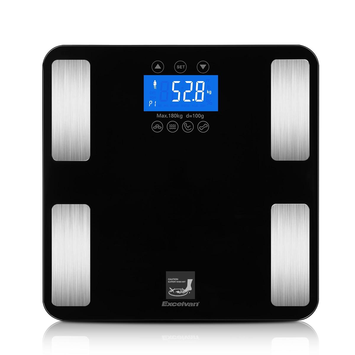 Excelvan-báscula Digital inteligente táctil, báscula de 400lb/0,1 kg para peso corporal, BMI, agua grasa, calorías, hueso y músculo, baño de masa