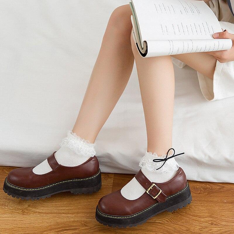 Jeseca, calcetín suave de algodón dulce para mujeres y niñas, 2019, volantes de invierno, lazo de encaje, calcetín lindo japonés Kawaii, calcetines Vintage Harajuku para mujeres