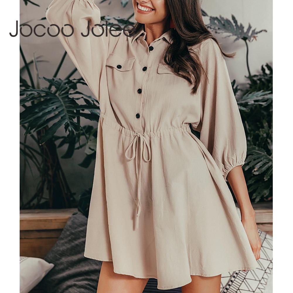 Jocoo Jolee Vintage Elegant Women Mini Shirt Dress Casual Lantern Sleeve Short Dress Turn Down Collar Lace Up Linen Female Dress