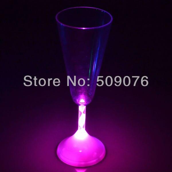 Envío Gratis 5 unids/lote 175 ML/6 OZ LED vino Champagne flauta luz gafas intermitente copas para boda fiesta club