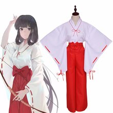 Anime Inuyasha Kikyo Cosplay déguisement Mikofuku japonais Kimono samouraï vêtements ensemble complet Halloween fête uniforme perruque sabots