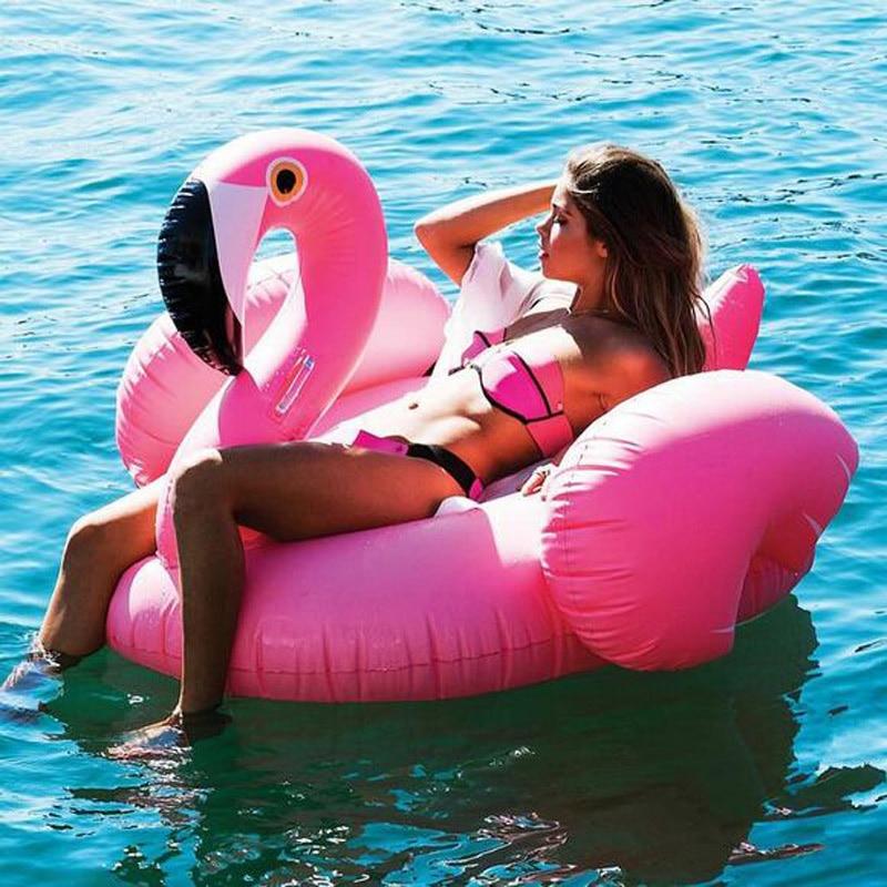 piscina Flamenco inflable gigante Piscina flota Rosa paseo en el círculo de natación anillo adultos niños agua fiesta juguetes Piscina playa vacaciones