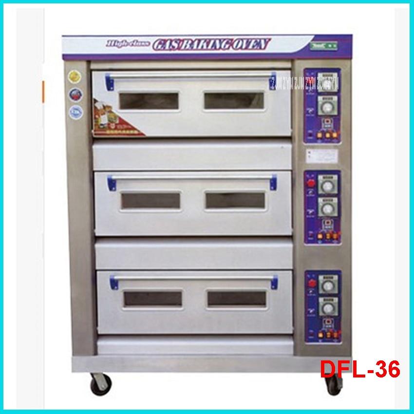 DFL-36 3 capas 6 bandejas de acero inoxidable 60 kg/h máquina de horno 380V tostadora eléctrica comercial pan alimentos horno pizza máquina de panadero