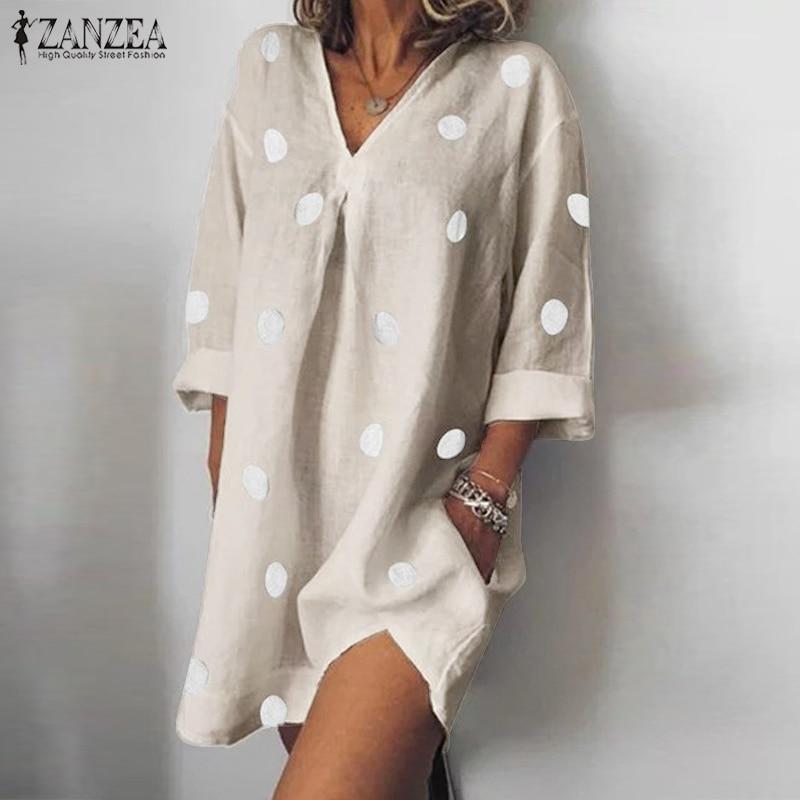 Zanzea moda mujer Polka Dot Mini Vestido verano cuello pico manga larga camisa Vestido Casual Robe Femme holgado partido Sundress