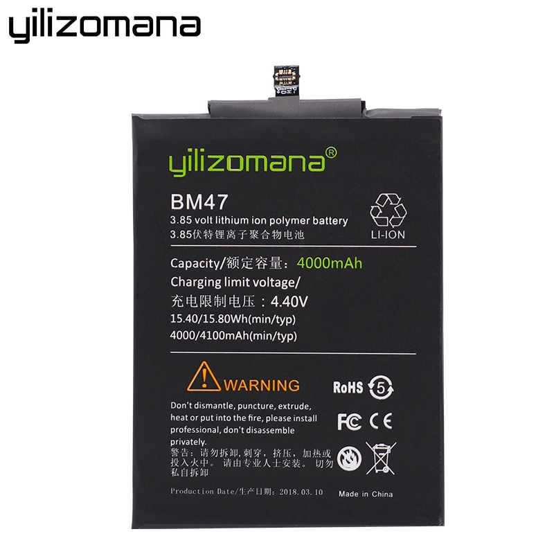 YILIZOMANA Replacement Phone Battery BM47 For Xiaomi Redmi 3 3S 4X 3X 3 Pro Batteries 4000mAh High Capacity Retail Package Tools enlarge