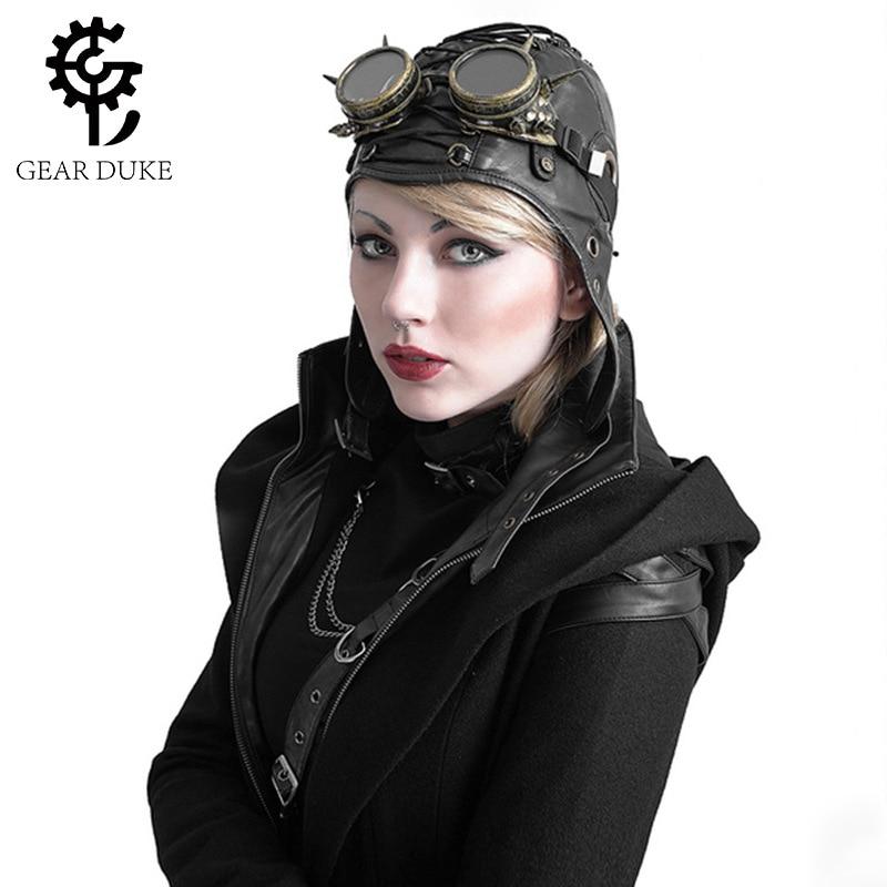 Gear Duke-قبعة Steam Punk من جلد البولي يوريثان ، نظارات شمسية ، عتيقة