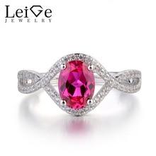 Leige bijoux rubis anneaux pour femmes en argent Sterling 925 bijoux fins ovale coupe pierre gemme anneau de fiançailles de mariage fendu tige