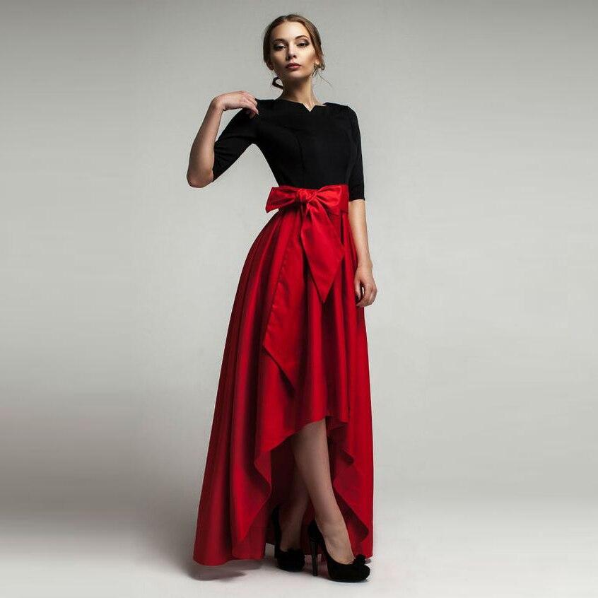 High Red Low Saias Das Mulheres Personalizado Império Cintura Até O Chão Assimétrica Saia Elegante Longo Maxi Saia