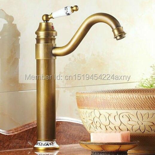 Évier de cuisine en laiton et porcelaine   Livraison gratuite, hauteur Antique, lavabo de salle de bains, robinet mitigeur en laiton, pivotant GI21