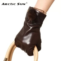 brand genuine leather gloves high quality women sheepskin glove fashion trend rabbit hair ball driving leather gloves el029nc