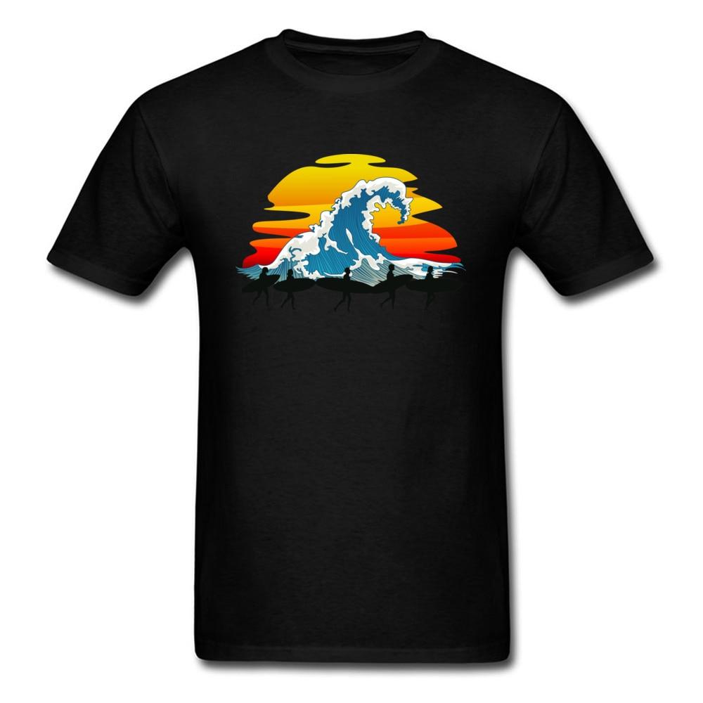 Lets Go! Group Surfer Tee Shirt Great Wave Sunset Print Man Cool T-shirt Short Sleeve Art Design Top Cotton Fabric