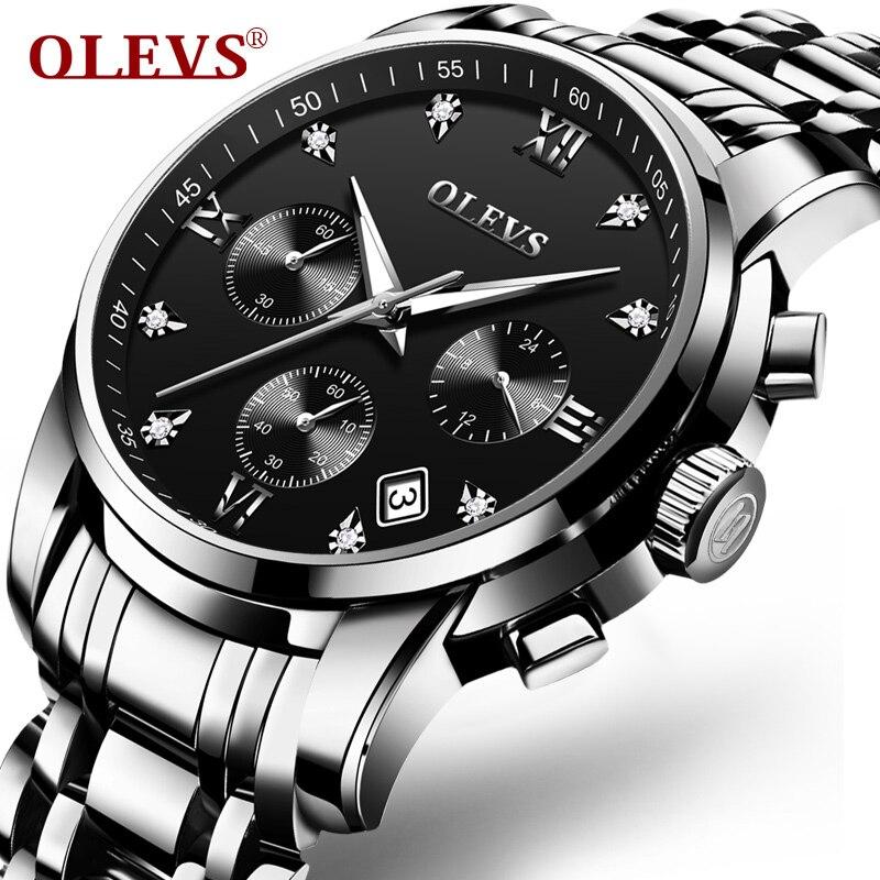 OLEVS Fashion Chronograph Men's Watch Stainless Steel Black Business Watch Waterproof Scratch Resistant Men's Watch Clock 2858