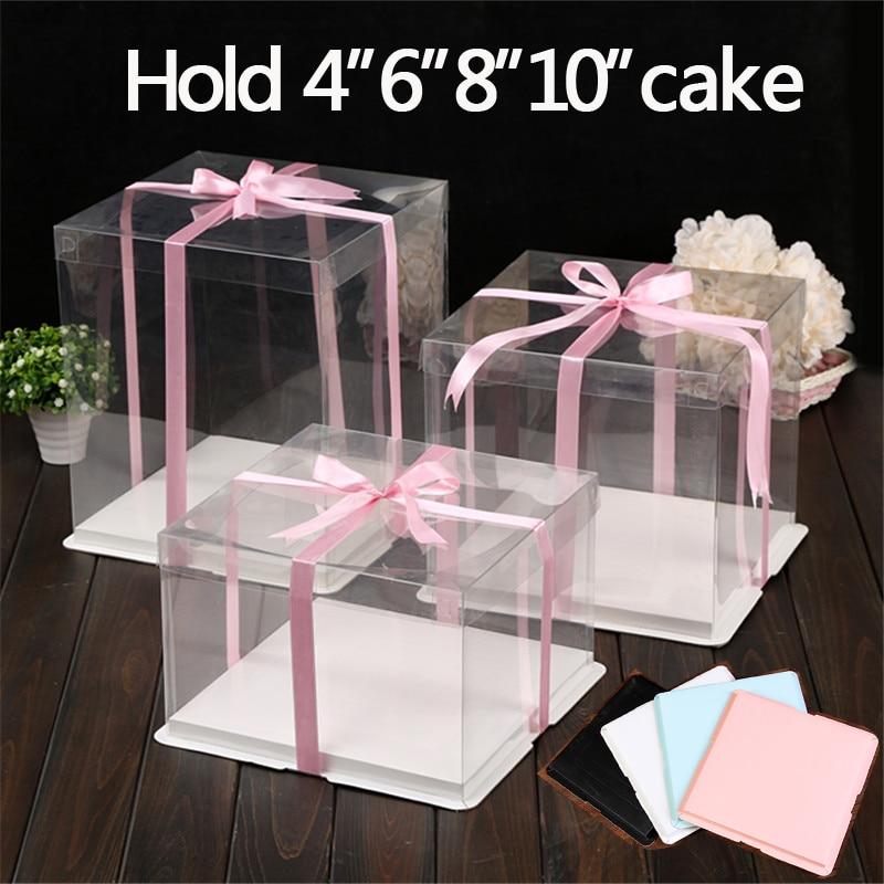 4 مجموعة/وحدة 6/8/10 بوصة واضح البلاستيك كعكة حامل تزيين لوازم ورقة كعكة مربع مخبز الديكور عرض حاويات لوحات
