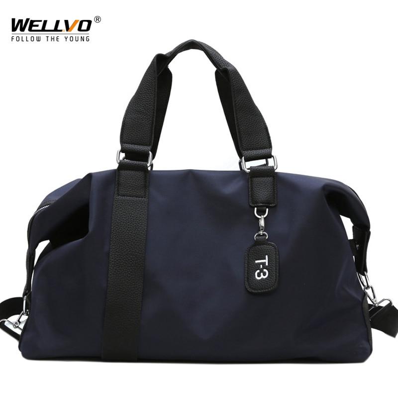 Bolso de viaje para mujer, grande, informal, para hombre, bolsa de Fitness, bolso sólido, negro, impermeable, bolsa de equipaje para viaje, fin de semana, XA127ZC